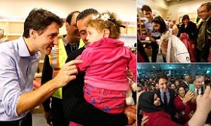 Canadian P.M. welcoming Syrian refugees at the airport