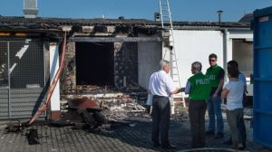 An arson attack gutted this migrant hostel in Reichertshofen, south Germany, last July