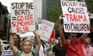 Australia's 'stop the boats' policy has prompted protests but the government says it has saved lives. Photograph: Richard Milnes/Demotix/Corbis