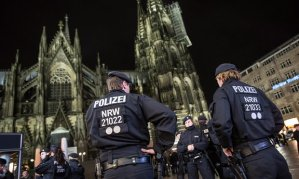Police forces guard the area around Cologne Cathedral after the New Year's Eve attacks. Photograph: EPA