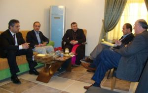 DeKelaita, (l.), in a meeting with Archbishop of Erbil Bashar Matte Warda, (c.), to discuss the plight of Iraq's Christian community.